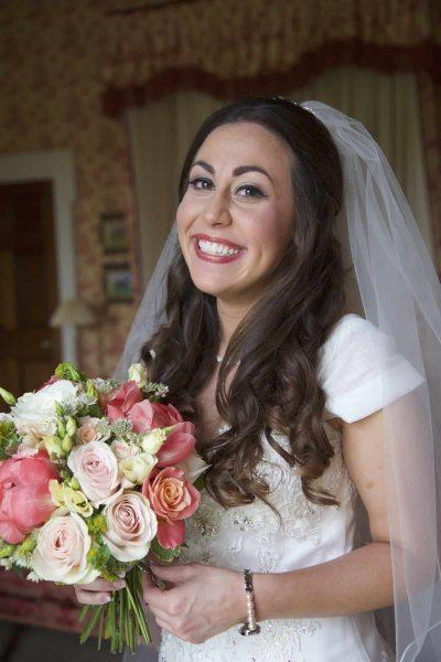bride laughing at camera