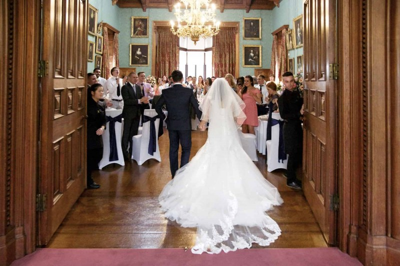 bride and groom enter State Dining Room, Knowsley Hall