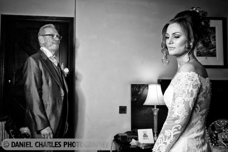 black and white father of the bride sees bride for first time