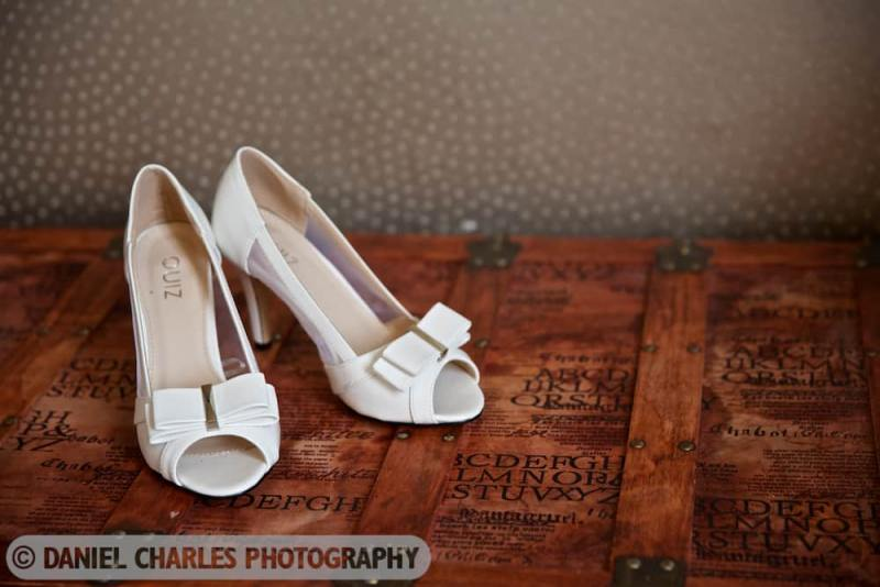 wedding shoes on wooden box