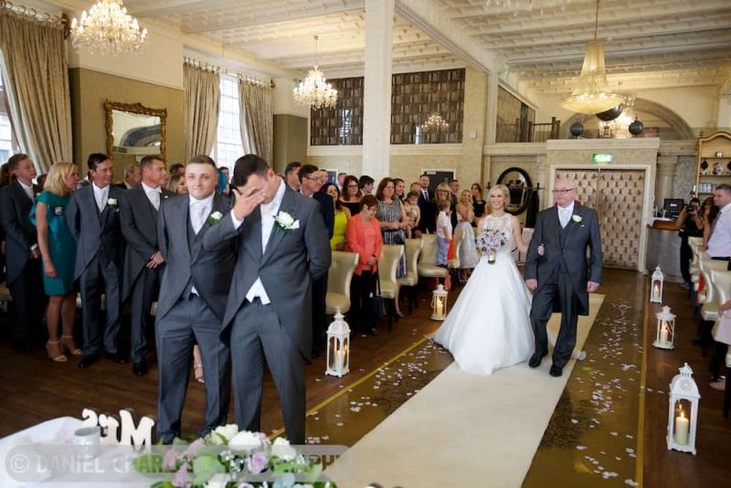 wide shot of main room at 30 James Street as bride approaches