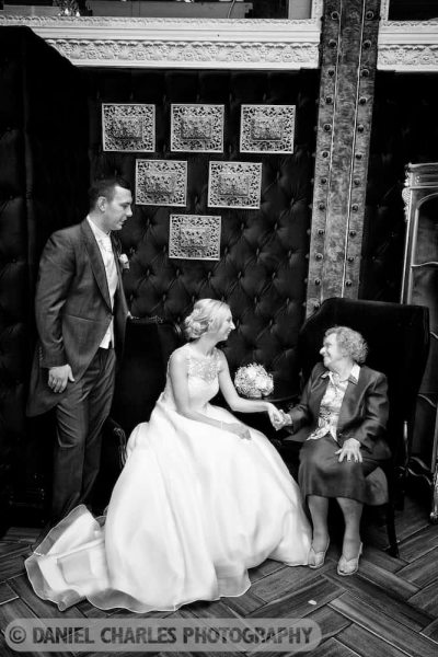 black and white wedding photo of bride and grandmother