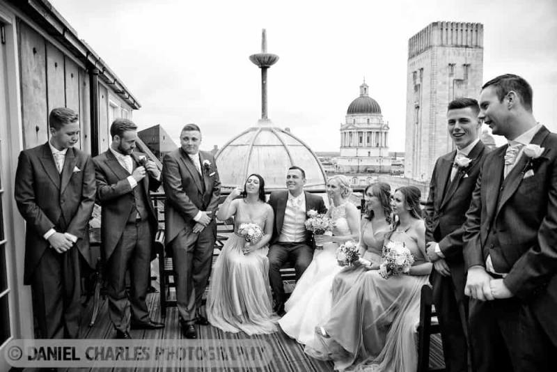 black and white bridal party photography
