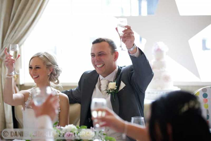 bride and groom toasting during best man's speech at 30 james street