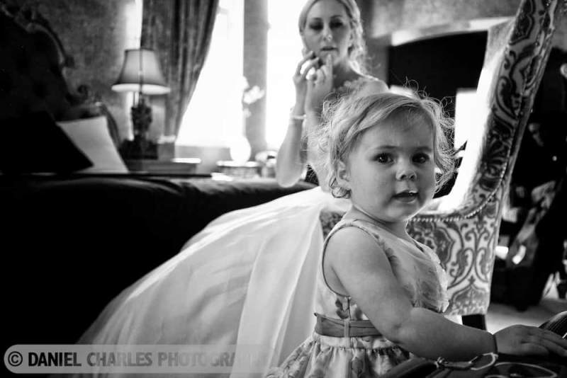 black and white toddler in wedding dress