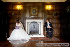 Bride and groom relaxing, Knowsley Hall