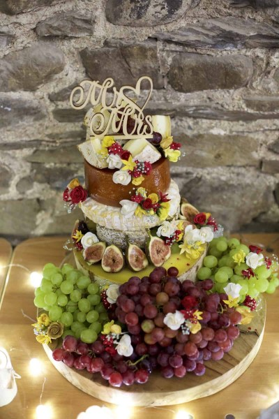 a wedding cake made of cheese