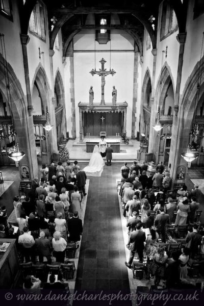 black and white wedding photograph from gallery in liverpool parish church