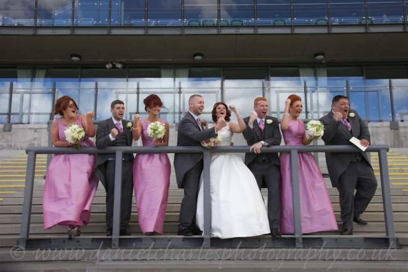 bridal party pretending to watch grand national