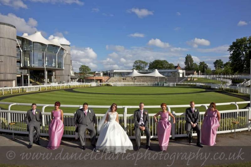 bridal party seated around showring at aintree