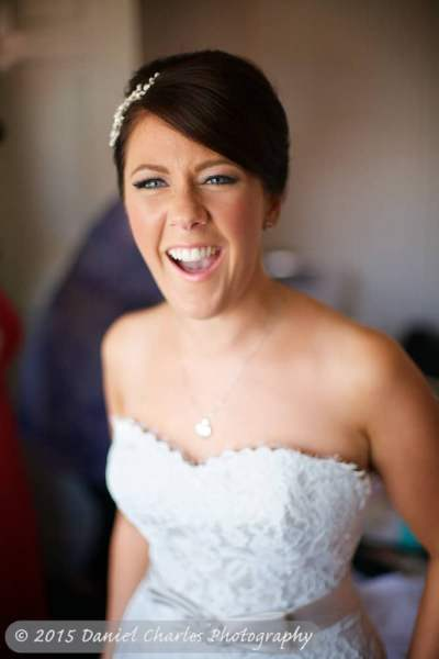 bride laughing at camera