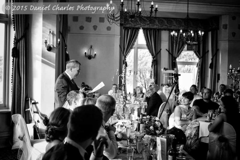 black and white wedding photograph of father's speech