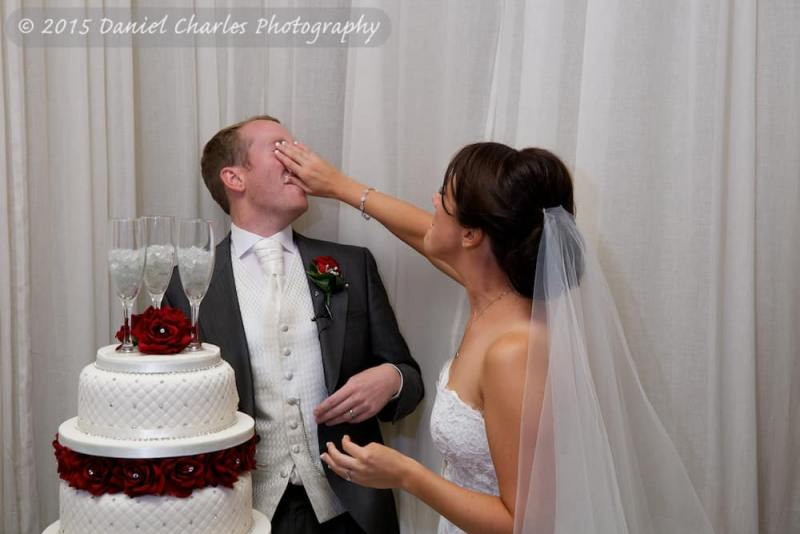bride shoving cake in groom's face leasowe castle