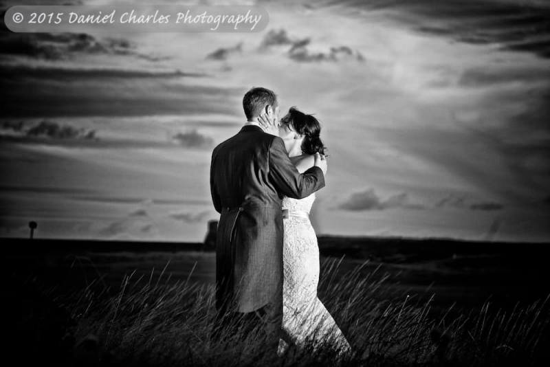 bride and groom kissing outside wirral wedding photography