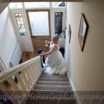 bride descends stairs