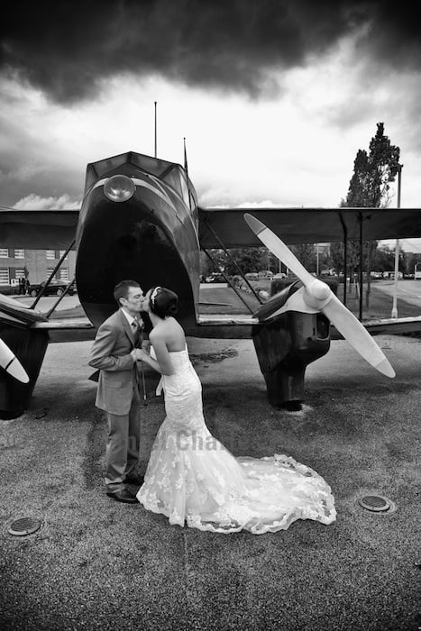 wedding photo at aeroplane outisde crowne plaza speke