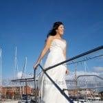 Bride on deck of boat