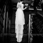 Bride ascending stairs