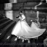 Bride and bridesmaids ascending stairs