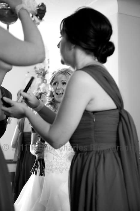 Black and white wedding photography bridal preparations